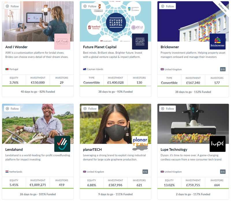 Nogle af de virksomheder, projekter og start-ups, som du kan investere i gennem Seedrs.